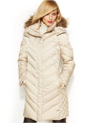 kenneth cole reaction hooded faux fur trim quilted down puffer