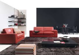 astonishing living room setup with red sofa and rectangle glass