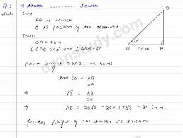 class 10th class xth cbse height and distance ex 14 r s