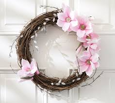 Pottery Barn Willow Table Faux Magnolia U0026 Pussywillow Wreath Pottery Barn