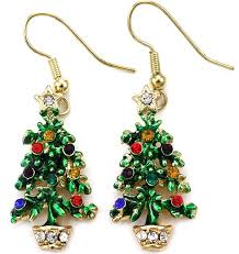 happy colorful christmas tree earrings hoop dangle