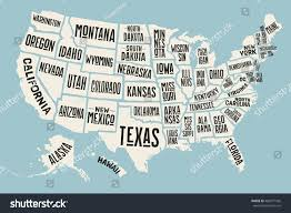 United States Map With States by Poster Map United States America State Stock Vector 489977566