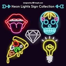 set of neon signs in modern style vector free