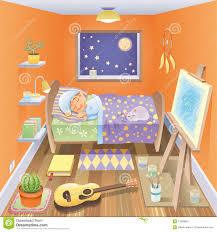 dans sa chambre le garçon dort dans sa chambre à coucher illustration de vecteur