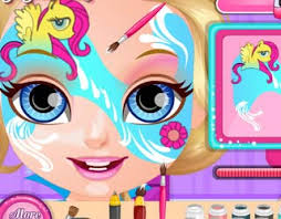 play free baby barbie pony face painting