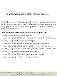 top 8 physicians assistant resume samples 1 638 jpg cb u003d1431017223