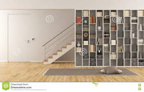 Living Room Bookcase Living Room With Bookcase And Staircase Stock Illustration Image