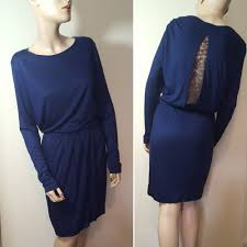 marlene birger by malene birger fina dress navy blue sleeve lace size medium