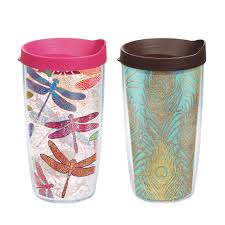 tervis dragonfly and glittery peacock feathers 16 oz tumbler