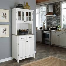 Kitchen Hutch Furniture Home Styles White And Stainless Steel Buffet With Hutch 5001 0023