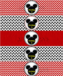 mickey mouse water bottle label minnie mouse birthday party