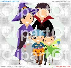 clipart halloween stick family trick or treating royalty free
