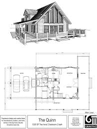 cabin floor plan with garage wonderful house plans loft charvoo