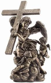 christian statues cherubs tending jesus on the cross religious figurine statue