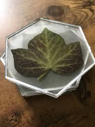 ivy leaves hexagon coasters botanical home decor lotr lorien