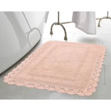 Pink Bathroom Rugs And Mats Crochet 100 Cotton 24 In X 40 In Bath Rug In Blush