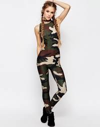 legging jumpsuit jaded unitard legging jumpsuit camo print with cut out