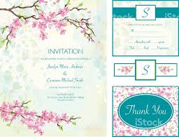 Cherry Blossom Wedding Invitations Cherry Blossom Wedding Invitation Set Stock Vector Art 472294565