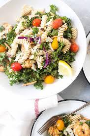 caesar shrimp and kale pasta salad gluten free wicked spatula