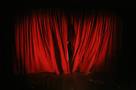 Velvet Home Theater Curtains Background With Red Velvet Curtain And Hand Illustration Royalty