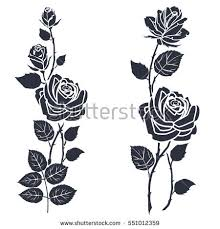 black silhouette roses leaves rose tattoo stock vector 551011840