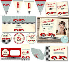 wrap party invitations vintage race car invitation birthday party classic car retro