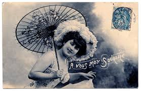 fashioned postcard with parasol the graphics