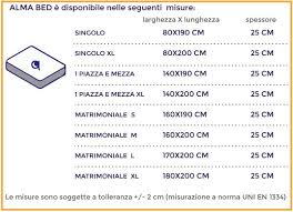 misura standard materasso dimensione materasso matrimoniale alma bed memory foam e lattice