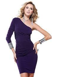 sheath short length long sleeve purple elastic chiffon cocktail