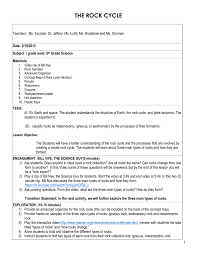 Types Of Rocks Rock Cycle Lesson Plan