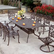 Cast Aluminum Patio Tables Patio 8 Person Outdoor Dining Cast Aluminum Set Metal Patio