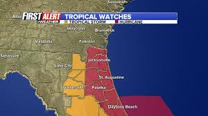 St Johns Florida Map by Hurricane Watch Issued For St Johns County And Coastal Duval