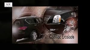infiniti qx56 vs mercedes gl450 2014 infiniti qx80 vs cadillac escalade youtube