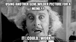 Gene Wilder Meme - using another gene wilder picture for a meme it could work