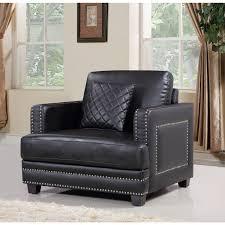 Black Leather Armchair Meridian Furniture 655bl C Ferrara Black Leather Arm Chair W