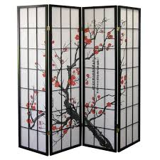 Japanese Screen Room Divider Ore International Black 4 Panel Plum Blossom Screen Room Divider
