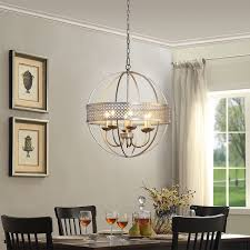 Silver Chandelier Orb 6 Light Distressed Silver Chandelier Free Shipping