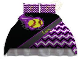 Personalized Comforter Set Girls Softball Bedding Purple Duvet Cover Softball Bedding