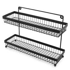 Spice Rack Countertop 2 Tier Wire Frame Wall Mountable Metal Kitchen Spice Rack