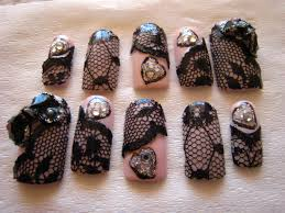 jin jin u0027s adventures black lace nail art with 3d acrylic bow
