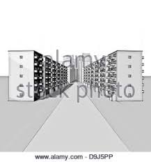 rough drawing of a street with apartment houses in gray stock