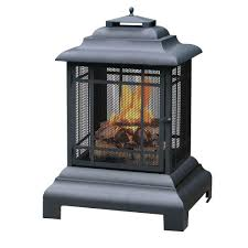 Outdoor Fireplace Uniflame 40 5 In High Black Outdoor Fireplace Waf501cs The Home