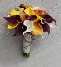 calla bouquets fall wedding bouquet calla bouquet orange bouquet real touch