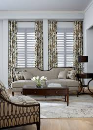 Patterned Window Curtains Modern Decor Ideas Living Room Contemporary With Window Shutters