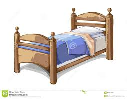 wood bed in cartoon style vector illustration stock vector
