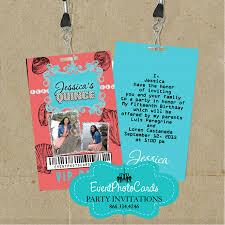 Sweet 15 Invitations Cards U0026 Coral Beach Invitations Sweet 15 Vip Pass Invitations