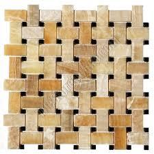 Onyx Basketweave Mosaic Tile Honey Onyx Basket Weave With Black - Basket weave tile backsplash