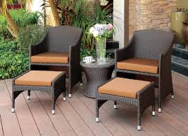 Patio Chairs With Ottomans by Furniture Of America Triar 5 Piece Espresso Wicker Frame Outdoor
