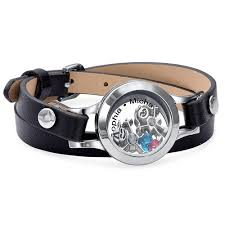 leather bracelet with charms images Mother floating locket leather bracelet with children charms jpg