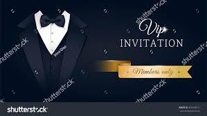 Invitation Card Formal Vip Premium Horizontal Invitation Card Black Stock Vector